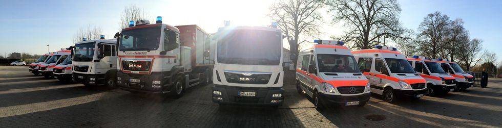 Einsatzfahrzeuge des Katastrophenschutzes in Gransee.