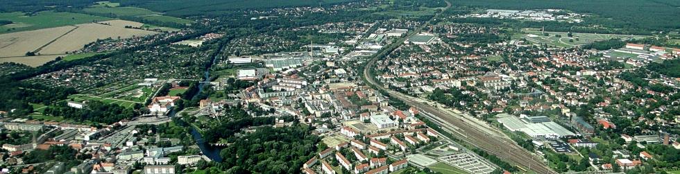 Die Kreisstadt Oranienburg aus der Vogelperspektive